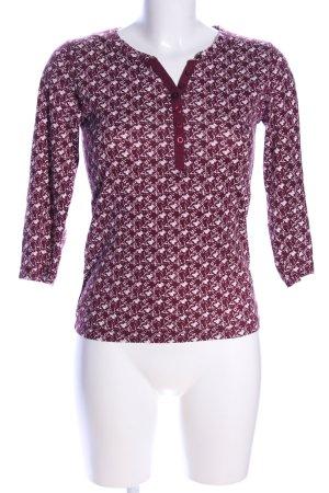 Marc Adam V-Ausschnitt-Shirt lila-weiß Allover-Druck Casual-Look