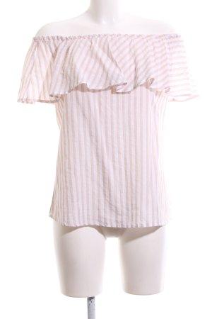 Marc Aurel Carmenshirt creme-weiß Streifenmuster Casual-Look