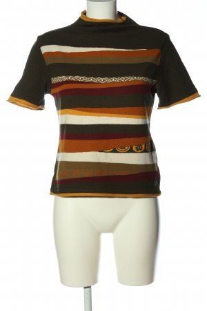 Marc Aurel Pull à manches courtes kaki-orange clair motif rayé