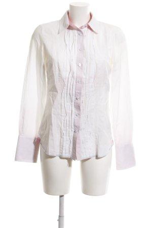 Marc Aurel Langarm-Bluse weiß-pink Business-Look
