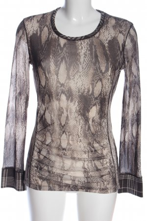 Marc Aurel Langarm-Bluse schwarz-wollweiß abstraktes Muster Casual-Look