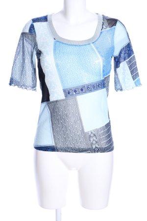 Marc Aurel T-Shirt blau-weiß Mustermix Casual-Look