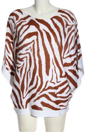Marc Aurel Oversized Shirt weiß-braun Allover-Druck Casual-Look