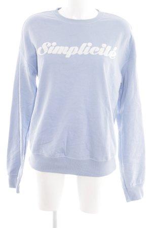 Marc Aurel Sweatshirt blau-weiß Schriftzug gedruckt Casual-Look