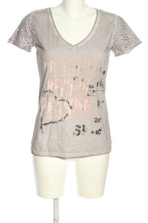 Marc Aurel T-Shirt hellgrau-creme Motivdruck Casual-Look