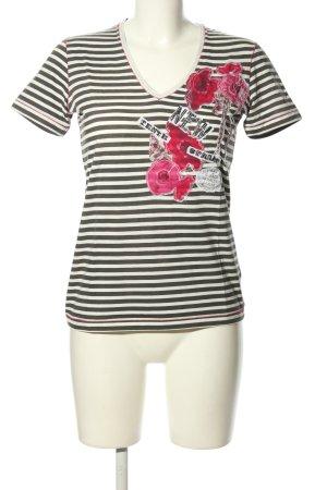Marc Aurel V-Ausschnitt-Shirt schwarz-weiß Blumenmuster Casual-Look