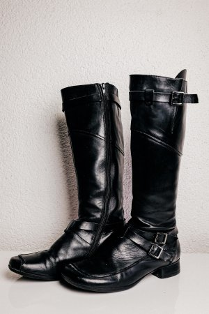 MARC Biker Boots black-silver-colored leather
