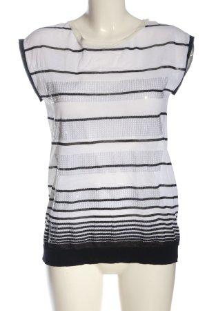Marc Cain ärmellose Bluse weiß-schwarz Streifenmuster Casual-Look