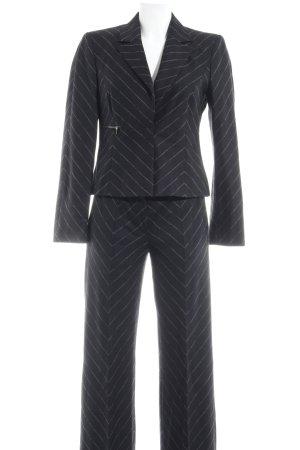 Marc Cain Pantalon de costume noir-gris motif en zigzag style d'affaires