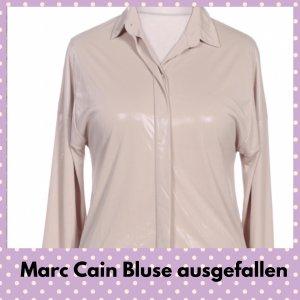 Marc Cain Połyskująca bluzka jasnobeżowy-camel Tkanina z mieszanych włókien