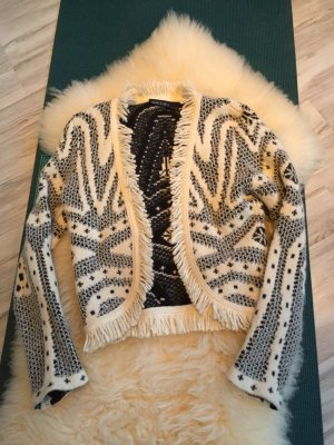 Marc Cain Bolero lavorato a maglia bianco-antracite Lana