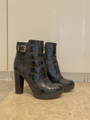 Marc Cain Platform Booties black-gold-colored