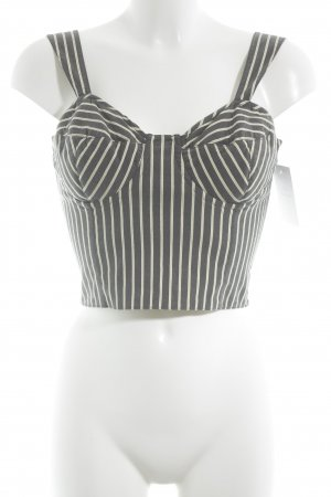Marc Cain Bustier Top dark blue-oatmeal striped pattern casual look
