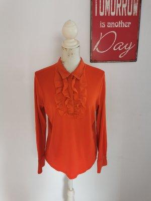 Marc Cain Damen Designer Bluse Langarmbluse Rüschen rot Seide Größe N6 44