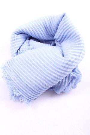 Marc Cain Écharpe à franges bleu-blanc motif rayé style décontracté