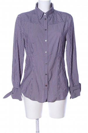 Marc Cain Glanzende blouse lila-roze gestreept patroon casual uitstraling