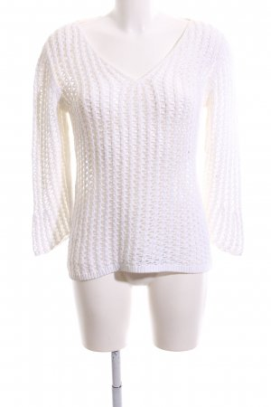 Marc Cain Grobstrickpullover weiß Webmuster Casual-Look