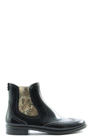 Marc Cain Botas de agua negro-color oro estampado de leopardo estilo clásico