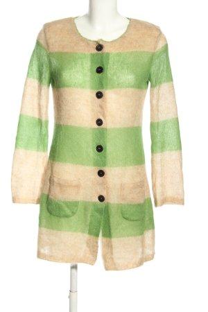 Marc Cain Gehaakte cardigan room-groen gestreept patroon casual uitstraling