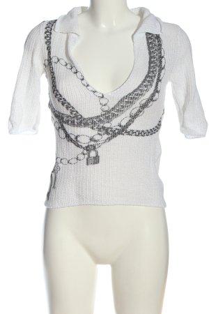 Marc Cain Szydełkowany sweter biały-jasnoszary Nadruk z motywem W stylu casual