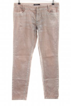 Marc Cain Lage taille broek nude-zilver glitter-achtig