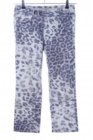 Marc Cain Low-Rise Trousers light grey-blue animal pattern casual look
