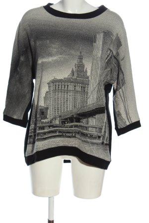 Marc Cain Pull kimono noir-gris clair moucheté style décontracté