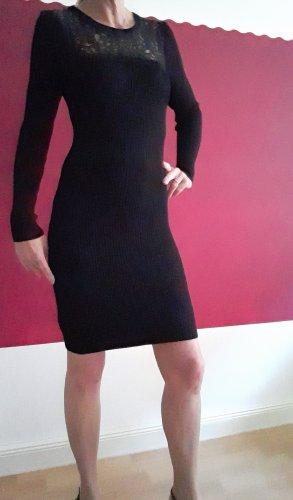 Marc Cain Kleid, Strickkleid mit Spitze Größe XS schwarz