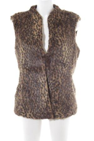 Marc Cain Chaleco de piel sintética beige-marrón oscuro estampado de leopardo