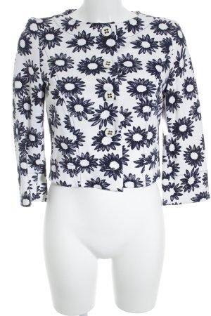 Marc Cain Kurz-Blazer weiß-blau florales Muster Casual-Look