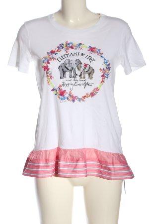 Marc Cain Kurzarm-Bluse weiß-pink Motivdruck Casual-Look