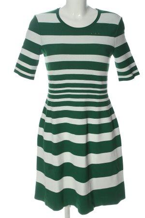 Marc Cain Kurzarmkleid grün-weiß Streifenmuster Casual-Look