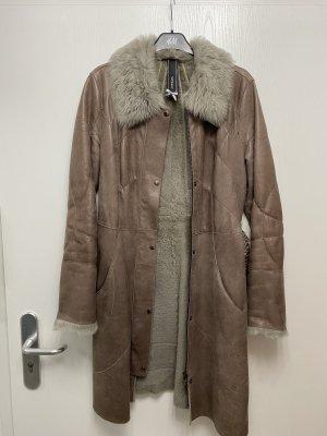Marc Cain Lammfell Mantel Leder Gr. 36/38 N3 Wintermantel Taillengürtel Np 2600€
