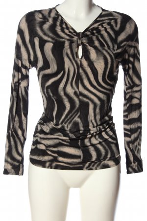 Marc Cain Langarm-Bluse schwarz-weiß abstraktes Muster Casual-Look