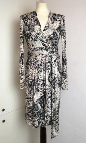 * MARC CAIN *  Langarm Kleid Wickelkleid Viskose  Polyester Seide schwarz Weiß Muster Gürtel  Gr N 3 38