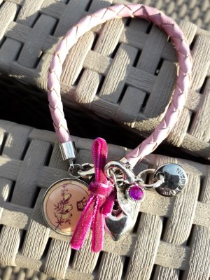 Marc Cain Leather Bracelet pink-silver-colored leather