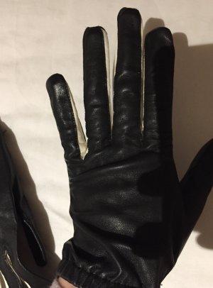 Marc Cain Leather Gloves black-white
