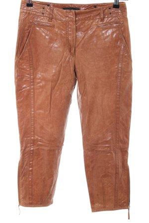 Marc Cain Pantalon en cuir orange clair style décontracté
