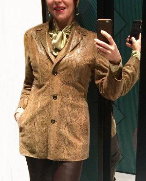 Marc Cain Leather Blazer multicolored leather