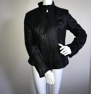 Marc Cain Leather Jacket black leather