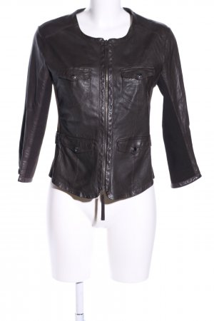Marc Cain Leather Jacket black business style