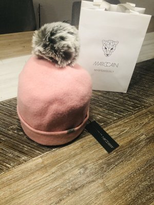 Marc Cain Fur Hat rose-gold-coloured wool