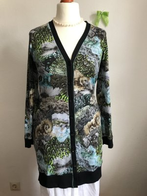 Marc Cain N6 Gr.40 42 lange Bluse Muster Schwarz Bunt Shirtbluse langarm Baumwolle