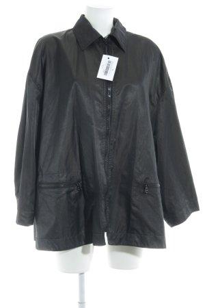 Marc Cain Oversized Jacke schwarz-olivgrün meliert Schimmer-Optik