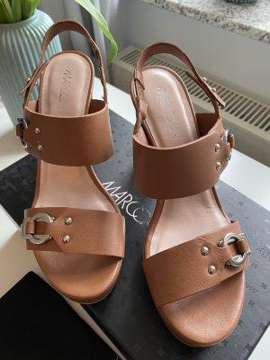 Marc Cain Platform High-Heeled Sandal brown leather