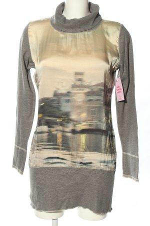 Marc Cain Swetrowa sukienka jasnoszary-kremowy Nadruk z motywem W stylu casual