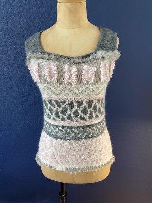 Marc Cain Sweater met korte mouwen grijs-rosé