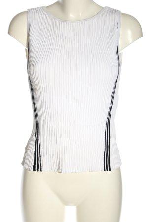 Marc Cain Prążkowana koszulka biały-czarny Wzór w paski W stylu casual