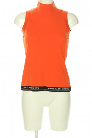 Marc Cain Neckholder Top light orange-black printed lettering casual look