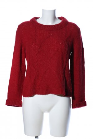 Marc Cain Rundhalspullover rot Zopfmuster Casual-Look